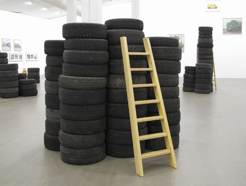 Installation of car tires and ladders, dimensions variable. Ladders made out of Tree of Heaven wood